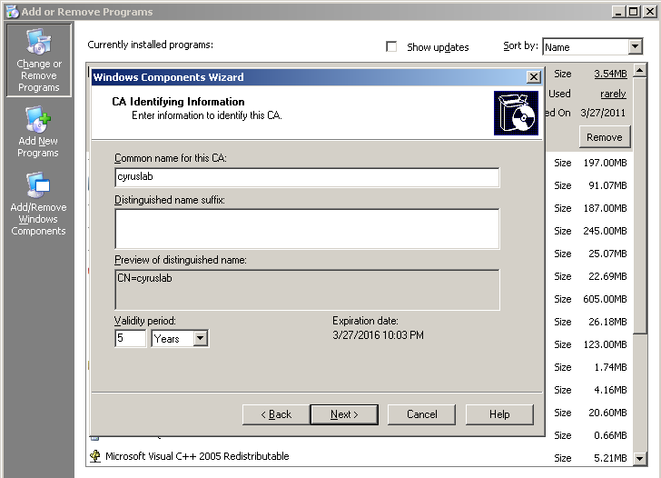 security setting up certificate authority server with