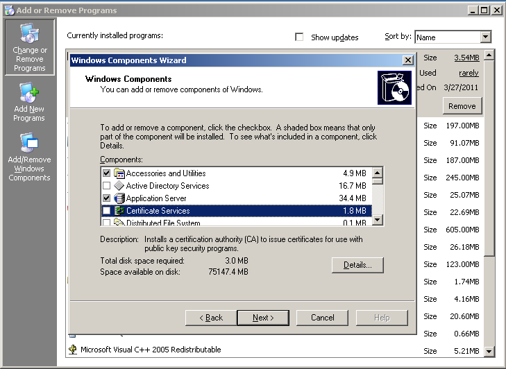 Security Setting Up Certificate Authority Server With Win2003 The