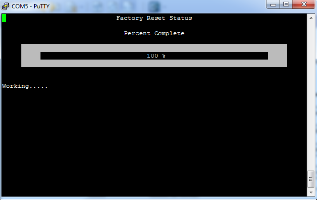 Factory reset completed