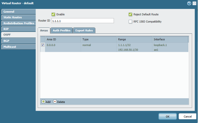 The completed ospf configuration.