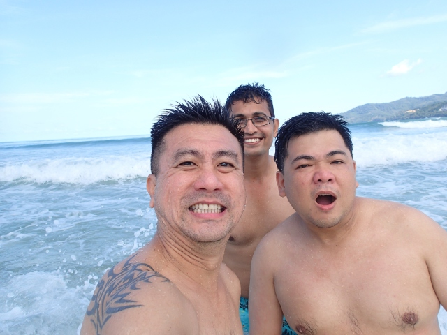 In Phuket beach. Herman, Rajkumar and I.