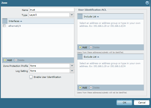 Click Add under Interfaces window and select the interface you want to assign to trust zone.