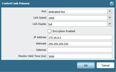 Control link configuration window.