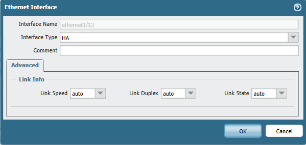 Network tab > Interfaces, choose one interface and set to HA interface type.
