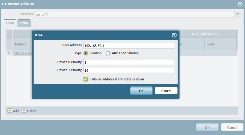 Simply click Add in the Virtual Address section, select the L3 interface then