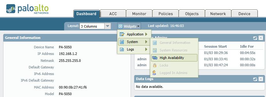 Widgets >  System > High Availability