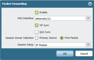 Device tab > High Availability and choose Active/Active Config tab