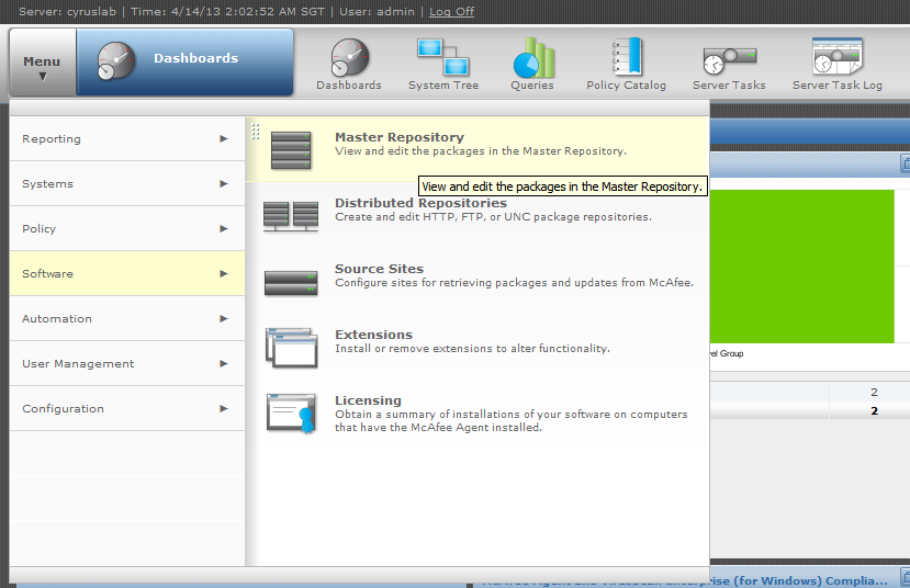 Click on Menu and select Software then select Master Repository.