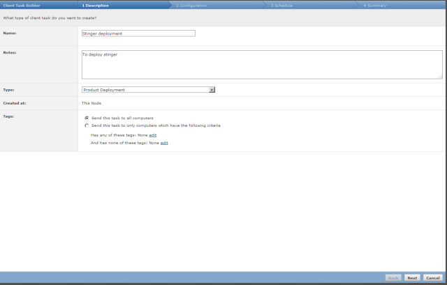 Choose product deployment and write your description to make this task clear.