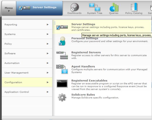 Click Menu then select Configuration then choose Server Settings.
