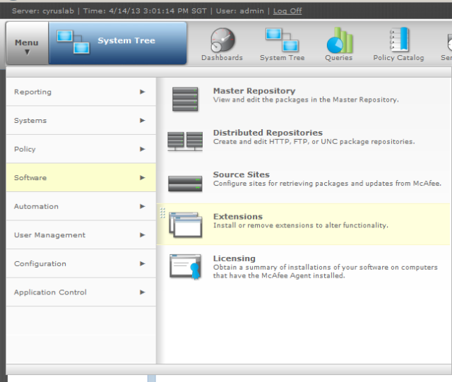 Click on Menu, select Software then choose Extensions.