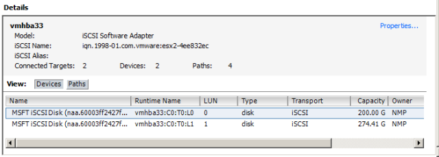 Connected targets and Devices should be 2, and there should be 4 paths. The virtual disks assigned should also be displayed.