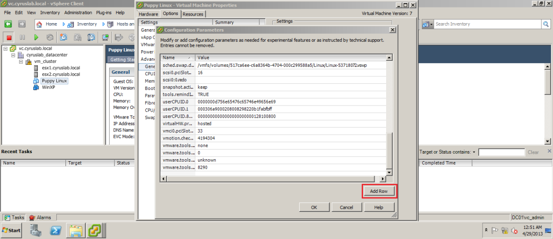 By the default the listed parameters do not exist you need to add row and put them yourself, click on Add Row.