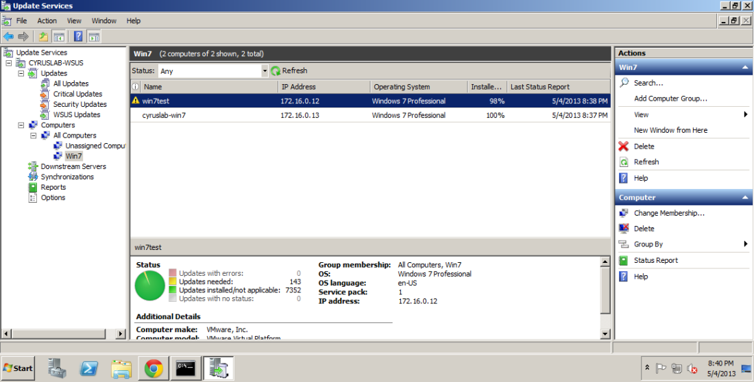 Notice the win7test has reported to the WSUS.