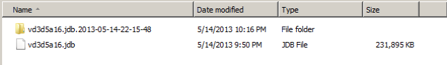 A folder appears while SEPM starts to process .jdb file.