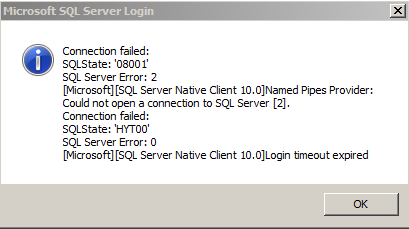 SQL server could not be connected. This could mean either SQL was unreachable or SQL service was stopped.