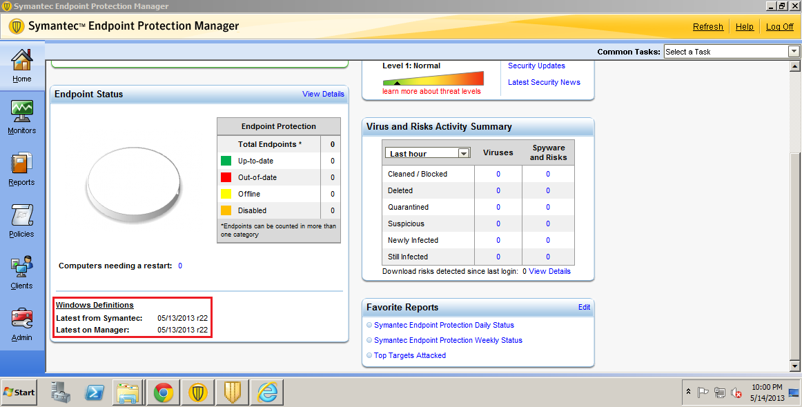 Symantec endpoint management server not updating