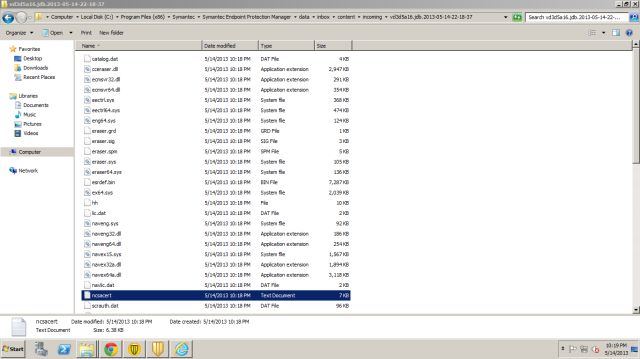 Within the folder contains a series of DLL, sys and virus definition files.