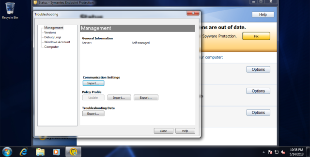 From the client, click on Help, select troubleshoot, under communication settings click import button.
