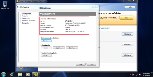 Under General Information, your SEPM IP address will replaced Self Managed.