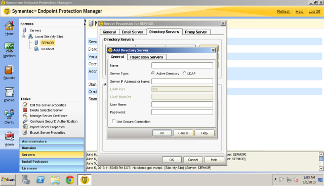 Enter the domain name or IP address of your DC. I put secondary DC address in Replication Server tab.