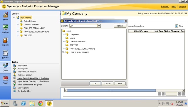 Enumerate the OU by choosing the directory server profile.