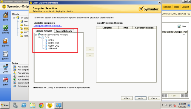 Turning on network discovery will allow SEPM to enumerate the computers in the domain.