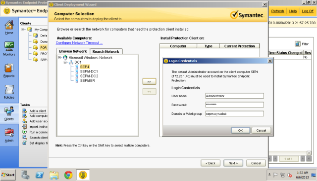 Enter the domain administrator credential. SEPM needs administrator account to deploy and install the agent on the computers. If you use workgroup you need to unhide administrator account on Windows 7 then create password for the administrator account.