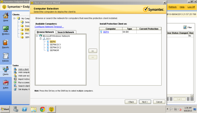 Successful login will display the domain computer on the right box.