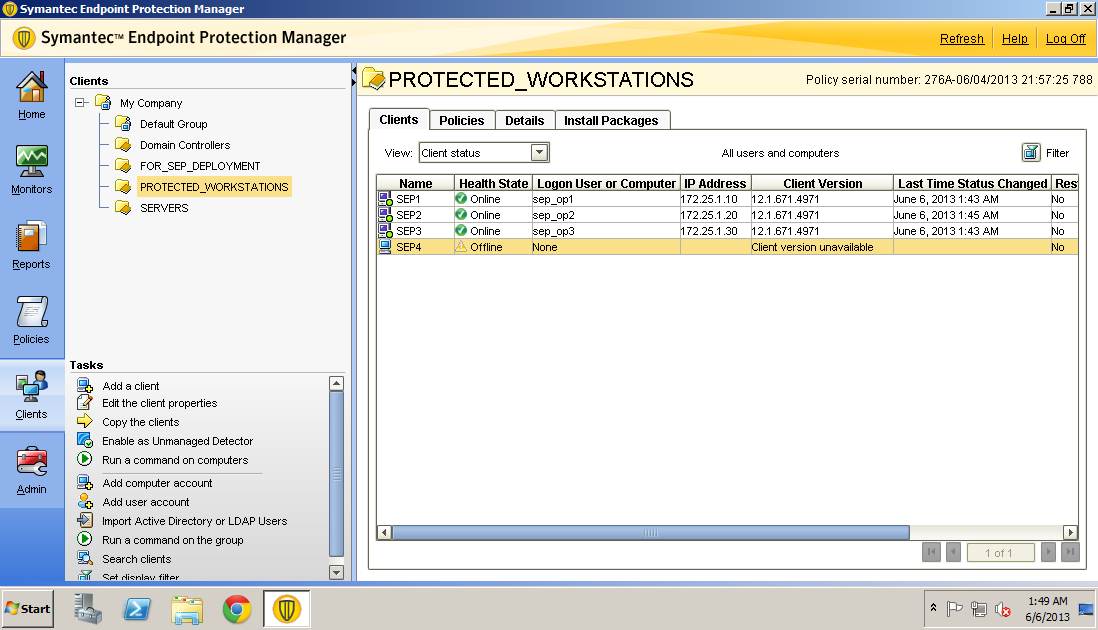 Symantec endpoint client not updating policy
