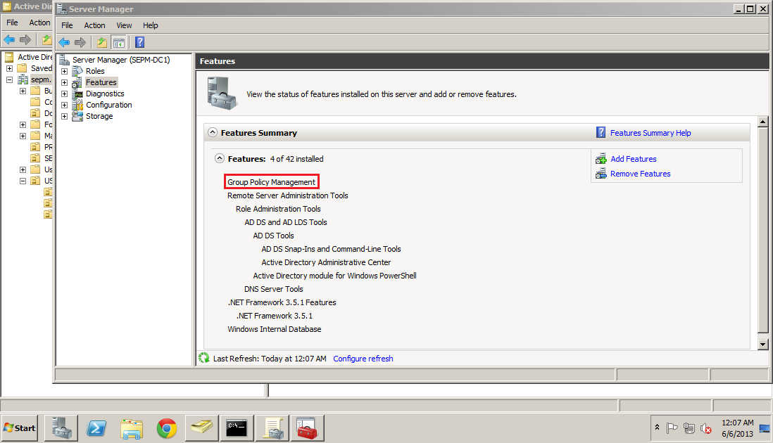 Group Policy Management feature.