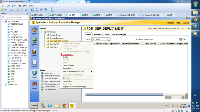 Although SEP4 was moved to FOR_SEP_DEPLOYMENT OU, SEP4 does not appear in the respective SEPM group. You need to right click the group and choose Sync Now; SEPM will sync its group database with AD.