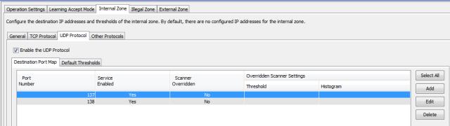 The UDP protocol tab has the same setting options as in TCP protocol tab and Other protocol tab.