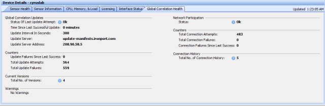 Global correlation health will show successful. Alternatively you can check the global correlation by using show health command in CLI.