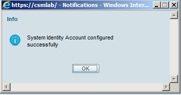 System Identity Setup successfully setup