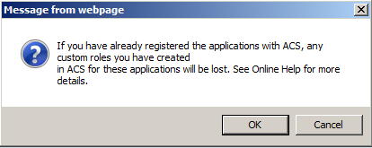 "This popup warning appears as soon as you check the box ""Register all installed applications with ACS"""