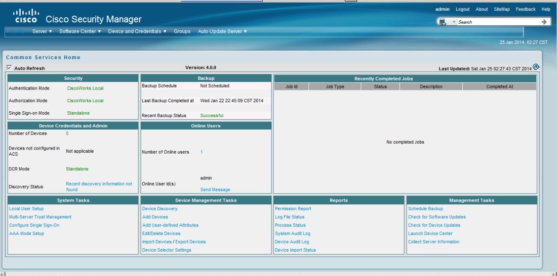 Cisco Security Manager home screen.