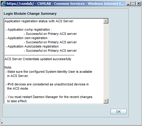 This change summary documented that you have selected to register all applications to ACS server.