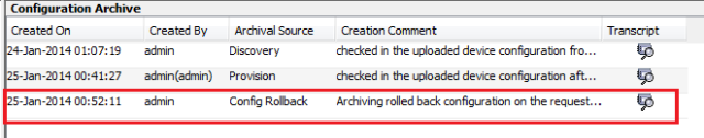 An entry is added after you have successfully rolled back the configuration.