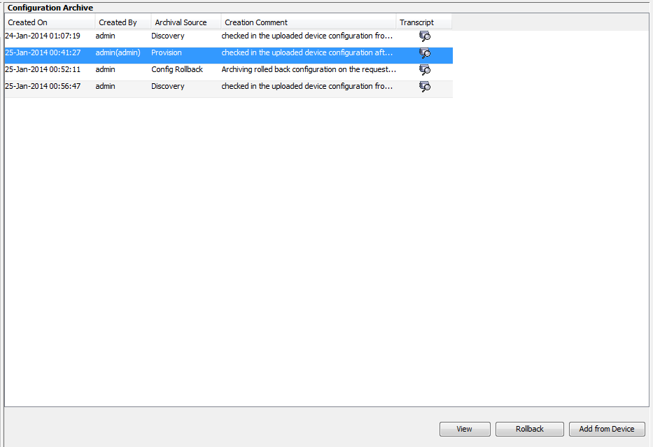 Choose the configuration and click rollback. I have only one provisioned configuration.