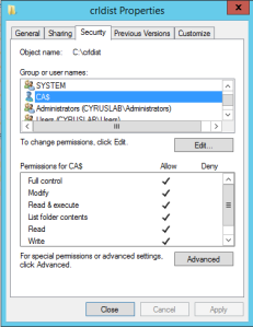 Choose Security tab to give NTFS permission to CA. Give full permission because the CA requires write permission.