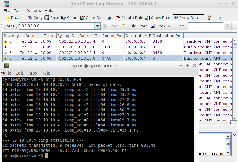 linux8 ping to linux7