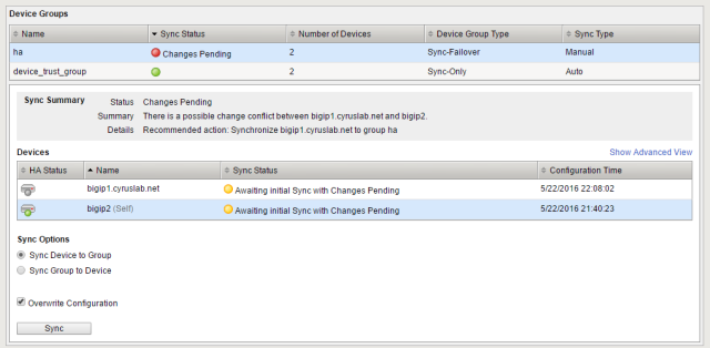 sync the config 2