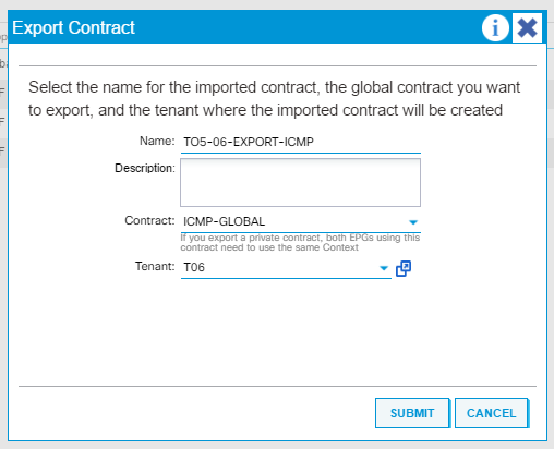 CISCO ACI Inter tenant contract – Export Contract