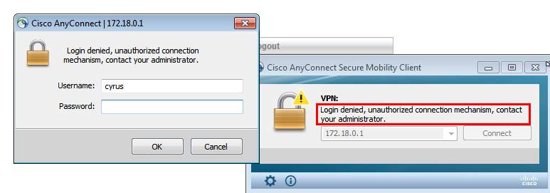 All Cisco Anyconnect Secure Mobility Client Login Failed Error